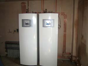 two ground souce heat pumps, manifold and pipework