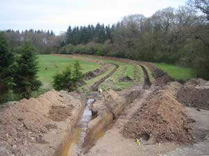 Two trenches for ground loop collectors in Whitchurch, Shropshire
