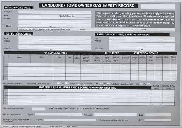 Landlord/Homeowner Gas Safety Certificate